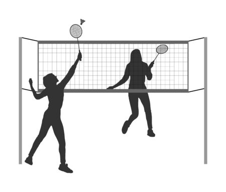 Happy sport girls playing badminton vector silhouette isolated on white background. Friends sport fun. Badminton players in action. Woman outdoor beach activity. Picnic lady relaxation after barbecue