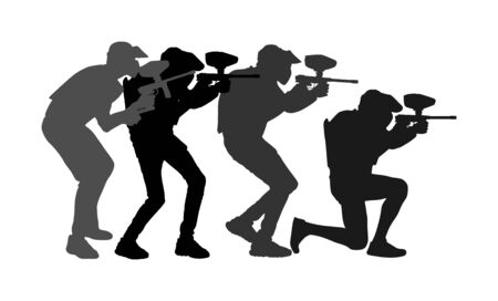 Paintball players vector silhouette isolated on white background. Extreme sport game. Aiming man with rifle shooting on target. Active boy with rifle in adrenaline battle. Group of friends team work.