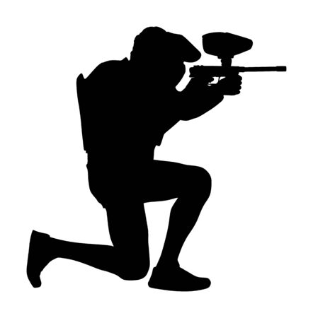 Paintball player vector silhouette isolated on white background. Extreme sport game. Aiming man with rifle shooting on target. Active boy with rifle in adrenaline battle. Anti stress outdoor activity.