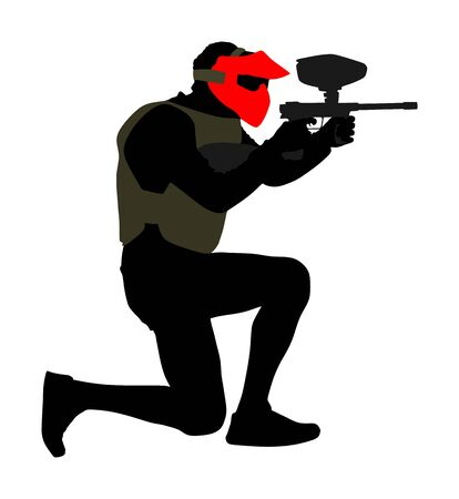 Paintball player vector silhouette isolated on white background. Extreme sport game. Aiming man with rifle shooting on target. Active boy with rifle in adrenaline battle. Group of friends team work.