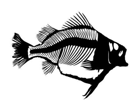Vis skelet vector silhouet illustratie geïsoleerd op een witte achtergrond. Dood visgraat symbool. Visgraat fossiel. Dieet hongerig concept.