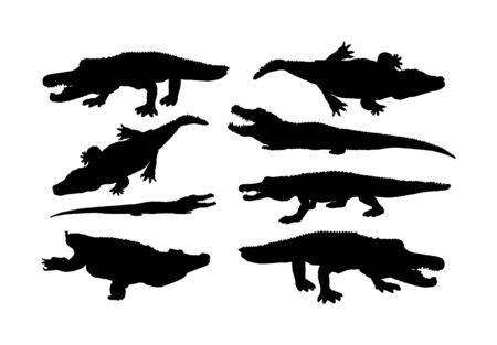 Crocodile vector silhouette on the white background. Alligator silhouette. Cayman silhouette. Alligator silhouette. Hungry powerful animal. Ilustrace