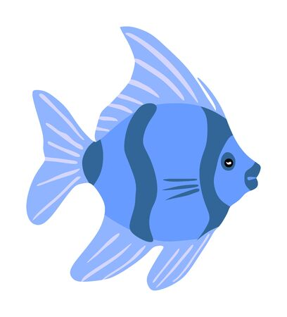 Aquarium exotic fish vector illustration isolated on white background, under water world. Coral reef Pisces.
