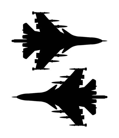 Jet fighter vector silhouette isolated on white background. Military plane symbol. Aircraft with missile on duty patrol.