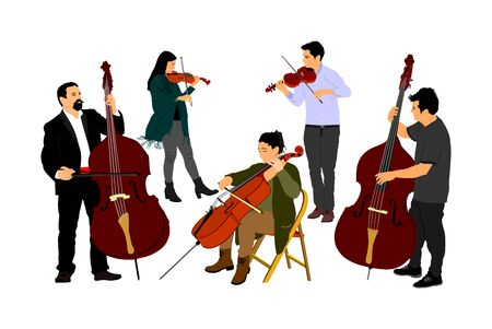 Music band, woman cellist playing cello with contrabass man duet vector. Classic music event artists play string instrument in orchestra. Jazz street performer. Musicians double bass and violin duet