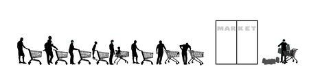 Group of people waiting in line in front of market vector silhouette isolated on white. Black Friday. Nervous crowd, man and woman with empty shopping cart food supplies against corona virus situation