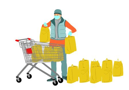 Woman with face mask in shopping with full shopping cart food supplies against corona virus situation. Bad economy situation. Panic buyer with many bags of goods. Fear for life and health care. Illustration