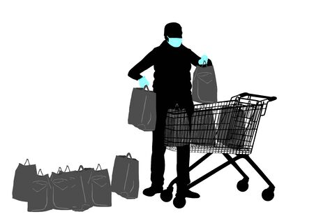 Woman with face mask in shopping with full shopping cart food supplies against corona virus silhouette. Bad economy situation. Panic buyer with many bags of goods. Fear for life and health care.