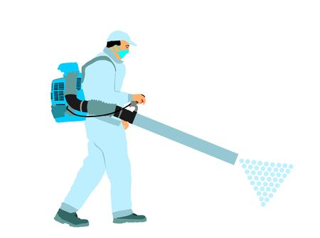 Decontamination against corona virus applying chemical spray. Cleaning man in medical protective gear, face mask vector. Floor care service worker washing. Sterile hospital prevention health care job.