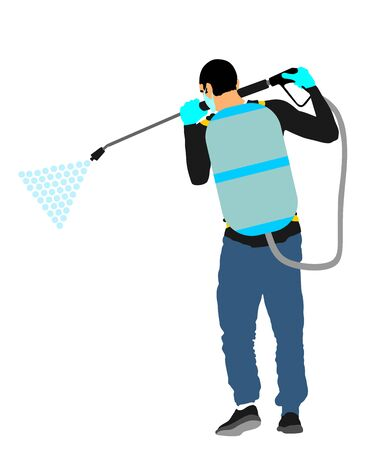 Decontamination against corona virus applying chemical spray. Cleaning man with protective gear, face mask, medical gloves vector. Floor care service worker washing. Sterile hospital health care job. Illusztráció