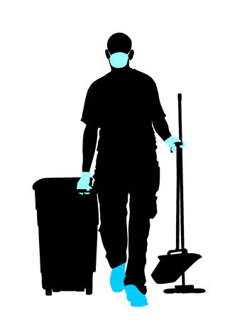 Cleaning man with protective gear, face mask and medical gloves vector silhouette. Floor care service with washing mop sterile. Trash bin worker clean hospital. Decontamination against corona virus
