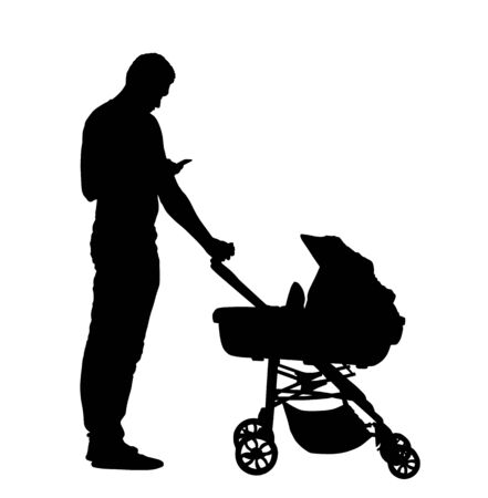 Father with baby in pram vector silhouette isolated on white background. Happy family values. Parent with baby in carriage. Fathers day. Man with mobile phone in hand takes care of child.
