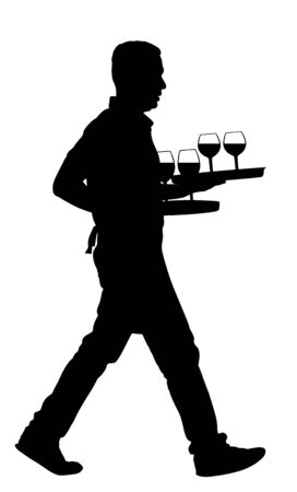 Waiter holding tray with order drinks for guests vector silhouette. Servant in restaurant taking orders. Worker in pub serve wine drinks for client. Barman welcomes guest. Cocktails and beverage.
