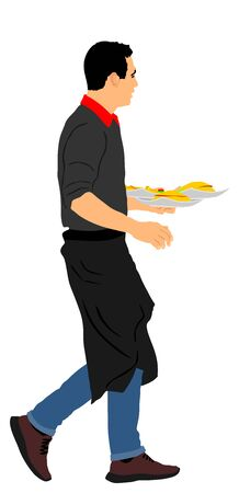 Waiter holding tray with order food for guest vector illustration. Servant in restaurant taking order. Worker in pub serve burgers and french fries for client. Barman welcomes guest. Gastronomy cusine