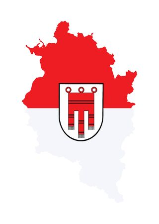 Vorarlberg, Austria region vector map and flag over map with coat of arms isolated on white background, silhouette illustration. Coat of arms, seal of Vorarlberg. Austria province territory symbol. Ilustração