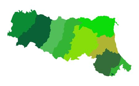 Emilia Romagna vector map silhouette with provinces isolated on white background. Italy territory map. 免版税图像 - 149096160