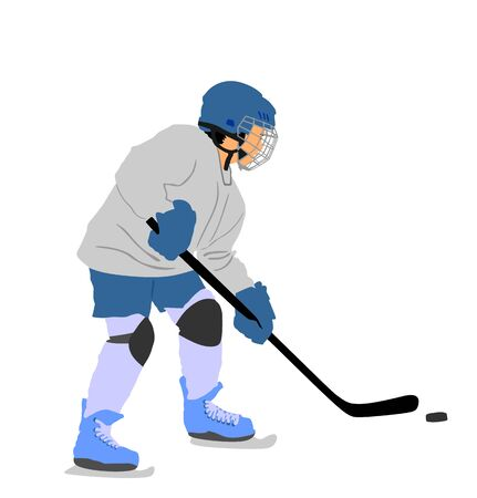 Hockey player with stick and a washer vector illustration isolated on white background. Shoots the puck and attacks on goal. Skating on ice.