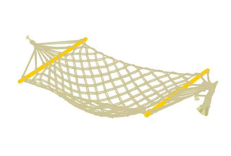 Hammock vector illustration isolated on white background. Summer time enjoy and relaxation swing bed. Beach time. Wooden garden equipment for backyard or picnic.