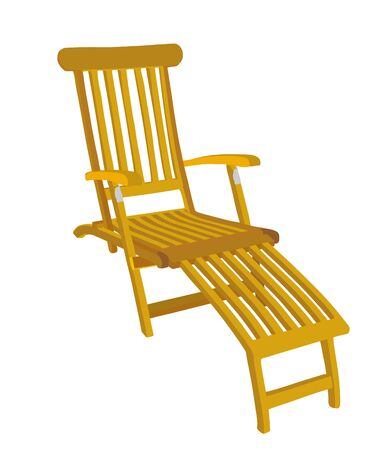 Sunbed wooden chair sun lounger vector illustration isolated on white background. Relaxation deckchair furniture for picnic, after swimming comfort easy chair, lay down on beach.