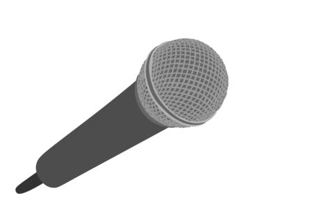 Microphone vector illustration isolated on white background. Mike symbol. Voice object for audio entertainment for public. Radio equipment. Karaoke event.