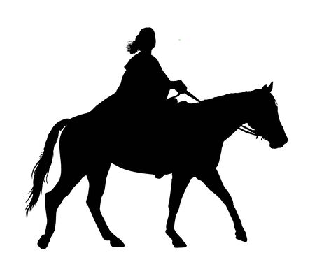 Medieval princess riding horse vector silhouette illustration isolated on white background. Girl in cloak ride horse. Attractive woman enjoy in countryside riding. Noble aristocratic lady on horseback