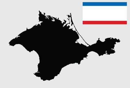 Autonomous Republic of Crimea  vector map silhouette illustration, isolated on white background. Russia oblast map.  Flag of Crimea republic, Russian federation.