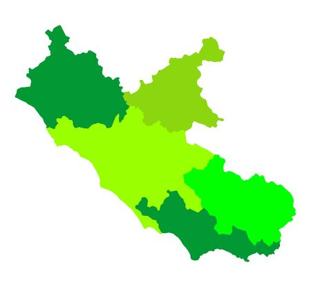 Lazio, Italy province vector map illustration isolated on background. Lacio region with borders. Illustration