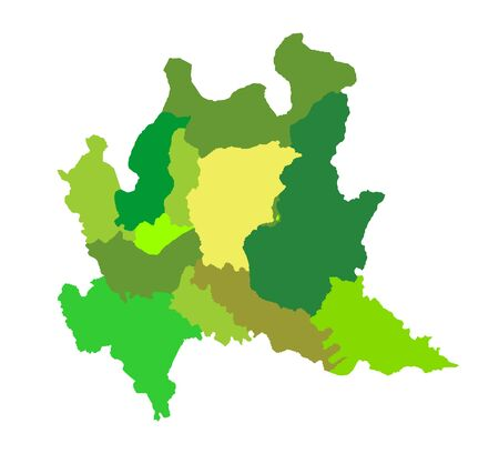 Lombardy, Lombardia, Italy vector map illustration isolated on white background. Lombardy province with separated regions.