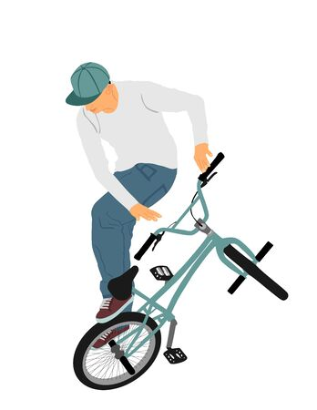 Bicycle stunts vector illustration isolated on white background.  Freestyle ace ride performed trail bike tricks. Young man doing tricks in the air on a BMX bike. Cyclist acrobat public entertainment.