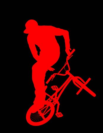 Bicycle stunts vector silhouette isolated on black background.  Freestyle ace ride performed trail bike tricks. Young man doing tricks in the air on a BMX bike. Cyclist acrobat public entertainment.