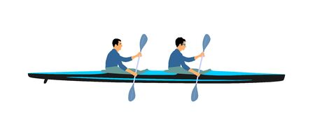 Teamwork of two kayakers paddling double kayak in competition race vector illustration isolated. Sport man crew in kayak boat racing. Weekend team building on river. Sport canoe duo rowing in sprint. Vecteurs