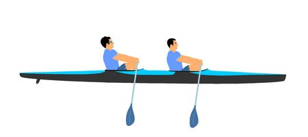 Teamwork of two kayakers paddling double kayak in competition race vector illustration isolated. Sport man crew in kayak boat racing. Weekend team building on river. Sport canoe duo rowing in sprint.