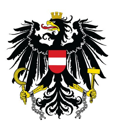 Heraldry eagle from Austria coat of arms vector illustration isolated on white background. Austria national symbol, emblem from flag.