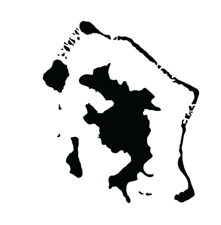 Bora Bora island, vector map isolated on white background. High detailed silhouette illustration. French Polynesia  archipelago islands.