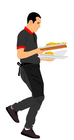 Waiter holding tray with order food for guests vector illustration. Servant in restaurant taking orders. Worker in pub serve pizza and burgers for client. Barman welcomes guest. Gastronomy specialites Ilustração