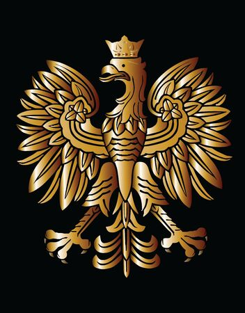 Gold Poland coat of arms, seal, national emblem, isolated on black background. Vector Coat of arms of Poland. Polish flag eagle.