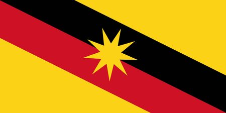 Flag of Sarawak state and federal territory of Malaysia. Vector illustration. Stock Illustratie