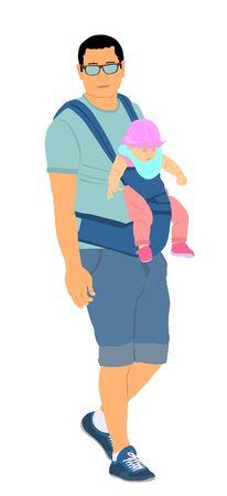 Walking father carry little sleeping baby girl on chest vector illustration isolated on white. Parent with daughter. Man holding kid. Happy family closeness in public. I love dad. Birthday celebration.