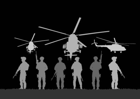 Army soldiers with sniper rifle on duty vector silhouette (Memorial Veterans day, 4th of July Independence day) Soldier keeps watch on guard. Rangers on border. Commandos team unit. Special force crew Vetores