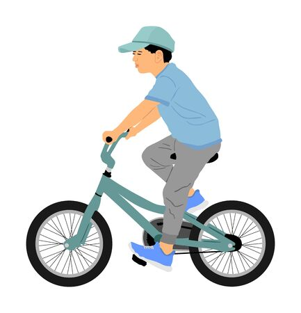 Little boy riding bicycle vector illustration isolated on white background. Kid enjoying in bike drive. Child active outdoor. Leisure time. Happy boy with favorite toy,  son birthday gift.