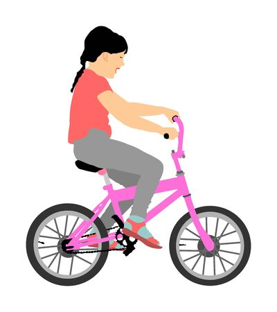 Little girl riding bicycle vector illustration isolated on white background. happy kid on bike. Child laughing. Daughter birthday gift first expression. Çizim