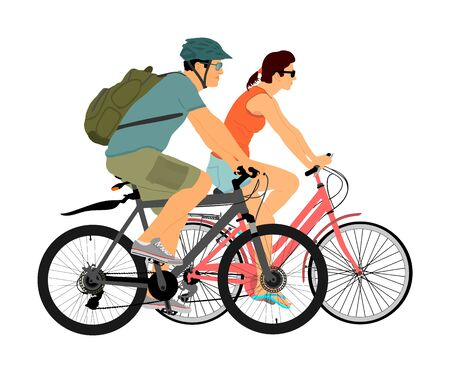 Happy couple in love riding bicycle vector illustration isolated on white background. Outdoor after work relaxing in nature. Boy and girl on date. Woman and man with backpack and helmet enjoy in drive