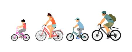 Happy family riding bicycle together, vector illustration. Little boy and girl riding bicycle with parents. Mother and father with kids outdoor enjoying in bike driving. Biker family. Electric bike.