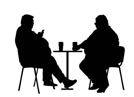 Fat friends sitting and drinking beer in pub vector silhouette isolated. Big boys talking and enjoy in drink. Overweight person trouble with food calorie. Breathless sweaty man with mobile phone. Иллюстрация