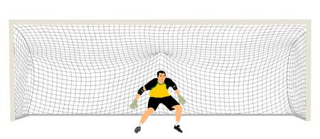 Soccer goalkeeper in front of goal net vector illustration. Football  goal keeper net isolated on white background. Defender sportsman position. Save penalty. Active sport boy. Man on goal. Иллюстрация