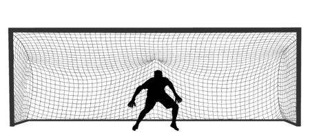 Soccer goalkeeper in front of goal net vector  silhouette illustration. Football  goal keeper net isolated on white background. Defender sportsman position. Save penalty. Active sport boy. Man on goal