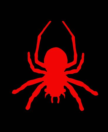 Red spider symbol. Tarantula vector silhouette isolated on black background. Arachnophobia, nightmare. Illusztráció