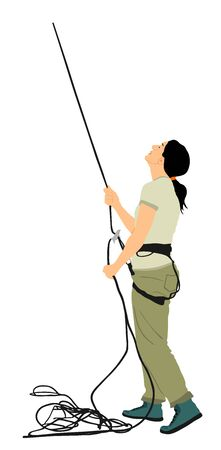 Woman with rope rock climbing instructor guides to climber up on rock vector illustration isolated on white. Extreme sports girl climbs with rope. Sport action in adventure park on rock wall skill Ilustração