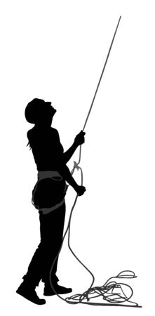Woman with rope rock climbing instructor guides to climber up on rock vector silhouette isolated on white. Extreme sports girl climbs with rope. Sport action in adventure park on rock wall skill