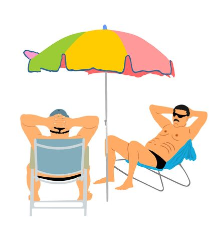 Retired old man on vacation sitting in beach chair, vector illustration. Senior friends sunbathing under parasol. Man enjoy in summer day. Free time in resort. Enjoying in sun. Relaxing and funny talk Иллюстрация